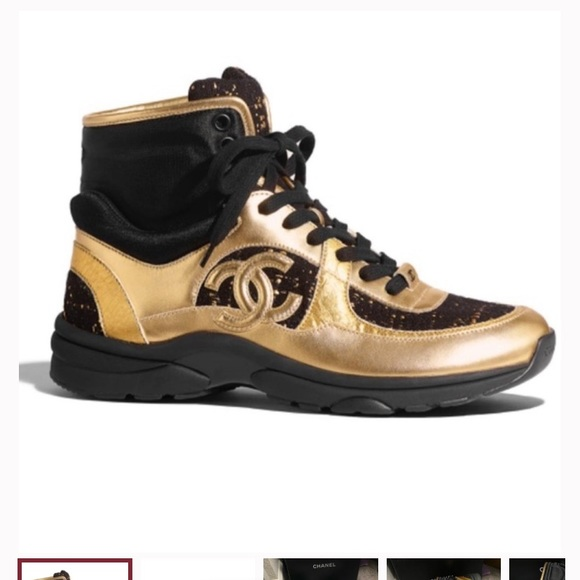 Black And Gold High Top Sneakers   Poshmark